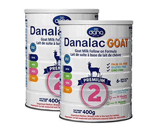 DANALAC Lait de Chèvre Préparation de Suite| Lait en Poudre de Qualité 2e Âge pour les Nourrissons et les Bébés Âge 6 à 12 mois (400 g Lot de Boîtes de 2)
