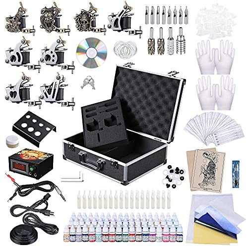AW Professional Complete Tattoo Kit 8 Machine Gun 54 Ink Power Supply Grip Tip Foot Pedal Equipment Set with Carry Case Kit for Tattoo Artisis