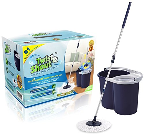 Twist and Shout Mop - Award-Winning Original Hand Push Spin Mop - Life Time Warranty (2 Microfiber Mopheads Included)