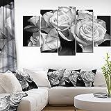 Designart Bunch of Roses Black and White-Floral Canvas Art Print-60x32 5 Piece-PT9986-373, 60X32-5 Panels Diamond Shape
