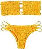 CheChury Mujer Bikini Bandeau Bralette Traje de Baño de Tubo Brasileños Bañador Ropa de Bano Dos Piezas Push Up Traje de baño con Acolchado Conjunto de Bikini de Playa Bañador