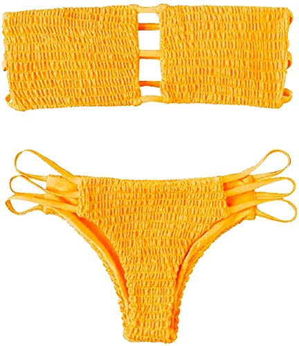 CheChury Bandeau Set Bikini Bikini Donna Mare Costumi da Bagno Donna Due Pezzi Bandeau Push-up Bikini Set Swimsuit Sexy Bikini Sexy Imbottito Mare Triangolo Halter Strapless Due Pezzi
