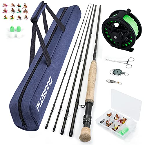 PLUSINNO Fly Fishing Rod and Reel Combos Including 4Pc Graphite Fly Rod, Fly Reel, an Extra Rod Tip Section,and Other Fly Fishing Accessories,Portable Travel Fishing Bag for Starter and Expert Angler