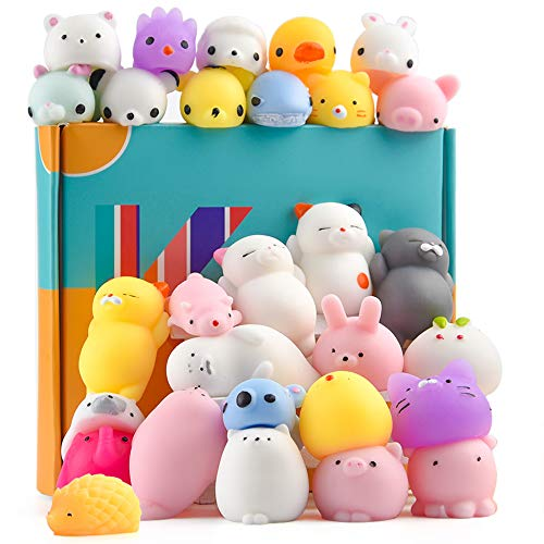 KUUQA 30Pcs Animal Squishies Toys Squishy Panda Cat Cute Mini Soft Squeeze Stress Reliever Balls Easter Egg Fillers Toys for Kids Birthday Party Favors