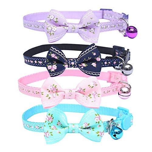 IDOLPET Collar de gato con diseño floral pequeño para gato de liberación rápida con campana, collar ajustable para gato con pajarita para gato y gatito