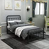 DUMEE Metal Bed Frame Twin Size Platform with Vintage Headboard and Footboard Sturdy Premium Steel Slat Support,Textured Black