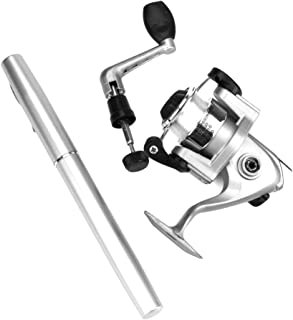 Quaanti Mini Portable Pocket Fish Pen Shape Aluminum Alloy Fishing Rod Pole Reel Baitcasting Lightweight Fishing Accessories (Silver)
