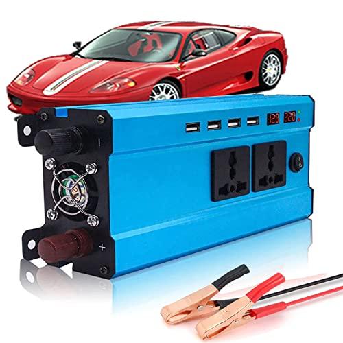 GZTYLQQ Inversor de Onda sinusoidal modificada de 1200 vatios Que Convierte 12-24 voltios CC en 220 voltios CA con Pantalla LCD, Control Remoto, 2 Salidas de CA y 4 Puertos USB para Sistema Solar, v