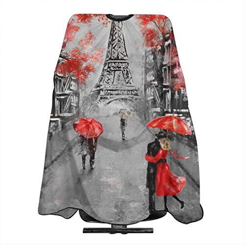 Dnwha Paintin Eiffelturm Paar unter einem Regenschirm, professionelle Friseurschürze, Polyester, 139,7 x 167,6 cm, geeignet für Friseurladen oder Zuhause