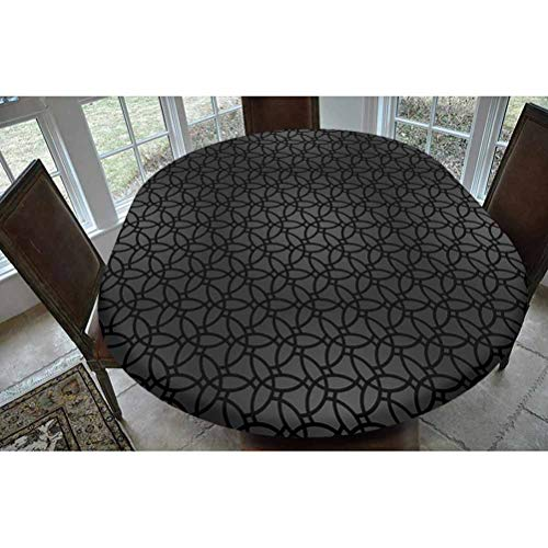Dark Grey Polyester Fitted Tablecloth,Geometric Pattern with Oriental Elements Moroccan Style Curves Lattice Grid Decorative Oblong Elastic Edge Fitted Table Cover,Fits Oval Tables 68x48' Black Dimgre