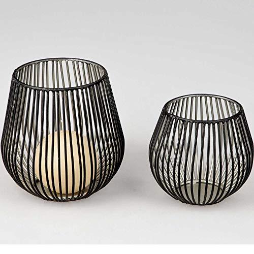formano Windlicht, Teelichthalter WILI H. 12cm D. 11cm schwarz Silber Metall