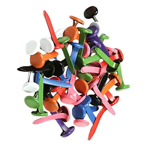 HEALLILY 150 Pcs Mini Brads Métal Scrapbooking Brads Attaches en Papier pour Bricolage Artisanat Couleur Aléatoire