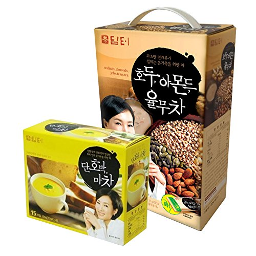 DAMTUH Breakfast Meal Replacement Energy Drink Set, Walnut Almond Adlay Tea 50 Sticks +Sweet Pumpkin and Yam Tea 15 Sticks