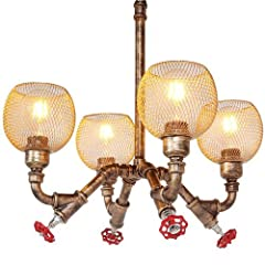 Retro style, not only lighting, but also decoration for your house,easy installation, the necessary screws are included in the package of delivery,you can install the chandeliers by yourself. Water pipes chandeliers suitable for kitchen living rooms,...