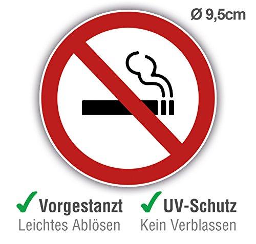 10 Stück + 1 Gratis Premium Rauchen verboten Aufkleber Schild groß - Rauchverbot Aufkleber geschlitzt rund für Innen & Außen - Schild mit UV-Schutz