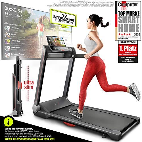 Sportstech FX300 - Cinta de correr ultrafina para eventos de vídeo y aplicación multijugador, gran superficie de 51 x 122 cm y sin montaje, 16 km/h, USB, correa de pulso compatible para entrenamiento cardiovascular