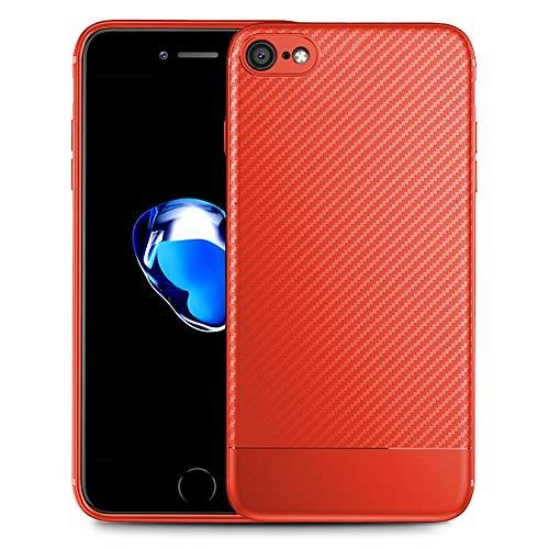 NALIA Design Case kompatibel mit iPhone SE 2020/8 / 7 Hülle, Carbon Look Stylische Handyhülle Stoßfeste Silikon Schutzhülle, Handy-Tasche Phone Cover Bumper Soft TPU Etui - Schwarz, Farbe:Rot
