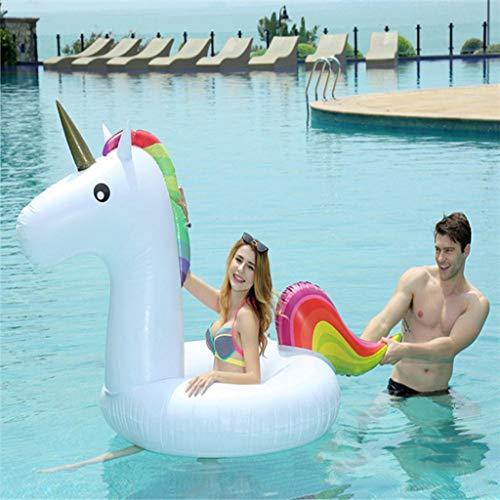 Flotador Inflable De PVC Unicornio Piscina Ring-Adult Swim Fila Piscina Inflable del Flotador del Asiento del Flotador Natación Niños Verano Agua Juguetes-210CM White-210 * 90 * 100CM