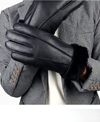 Nuevos Hombres Guantes de Invierno Guantes cálidos para Hombres Guantes de Cuero de Cuero para Nieve-Black A-One Size