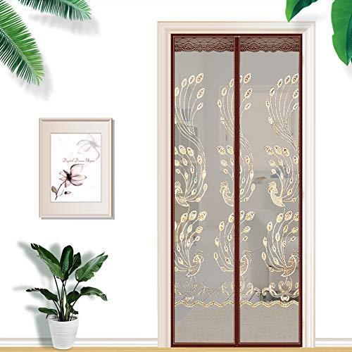 Anti-Moskito-Verschlüsselung Stummschaltfenster Sommer neue magnetische Softscreen-Tür, Klettverschluss + Stecknadel-Brown-90x200 cm (WxH)