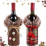 WELLXUNK® Cubierta de la Botella de Vino de Navidad, 2 Piezas Bolsas Botellas Vino Navideñas, Decoración Cubierta Botella Vino, Decoración Hogar de la Mesa de Cena para Las Fiestas de Navidad
