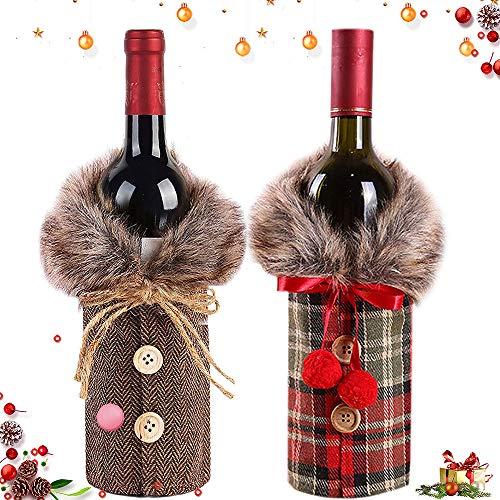 WELLXUNK® Cubierta de la Botella de Vino de Navidad, 2 Piezas Bolsas Botellas Vino Navideñas, Decoración...