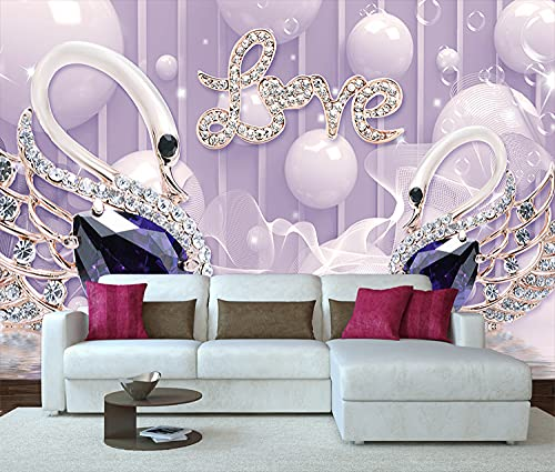 Tapeten,Fototapete,Ouple Room Decor Wallpaper Lila Diamant Liebe Schwan-Custom 3D Foto Wallpaper Wandbild Für Wohnzimmer Kindergarten Zimmer Dekor,140 Cm (B) × 70,5 Cm (H)   4,59 × 2,29 Ft