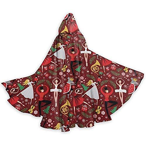KDU Fashion Witch Cape, notenkraker, kerstbal, bloem, capuchon met creatieve capuchon, creatieve mago-omhang voor kostuums van Hexe 40 x 150 cm