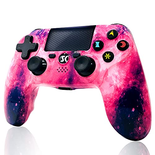 CHENGDAO Wireless Controller for PS4,High Performance Double Vibration Gaming Controller Compatible with Playstation 4/Pro/Slim/PC and Laptop with Audio Function, Mini LED Indicator, USB Cable - Pink