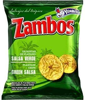 Zambos Plantain Chips – Delicious Plantain Chips with Green Salsa (Tajaditas de Plátano con Salsa Verde). Unique Flavor fr...