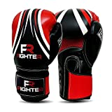 Fighter Boxing Gloves Perfect for MMA Training, Punching Bag, Kickboxing, Muay Thai Boxing Gloves for Men, Women and Adult (Red/Black, 14 oz)
