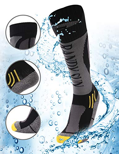 RANDY SUN Wasserdichte Skisocken [SGS Zertifiziert] Unisex Knielang Atmungsaktiv Wandern Trekking Socken 1 Paar Größe L 1 Paar graue & schwarze Kniestrümpfe