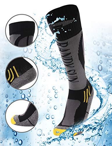 RANDY SUN Waterproof Winter Cycling Warm Socks, [SGS Certified] Unisex High Performance Fashion Fishing Gift for Men Socks Grey&Black S 1 Pair