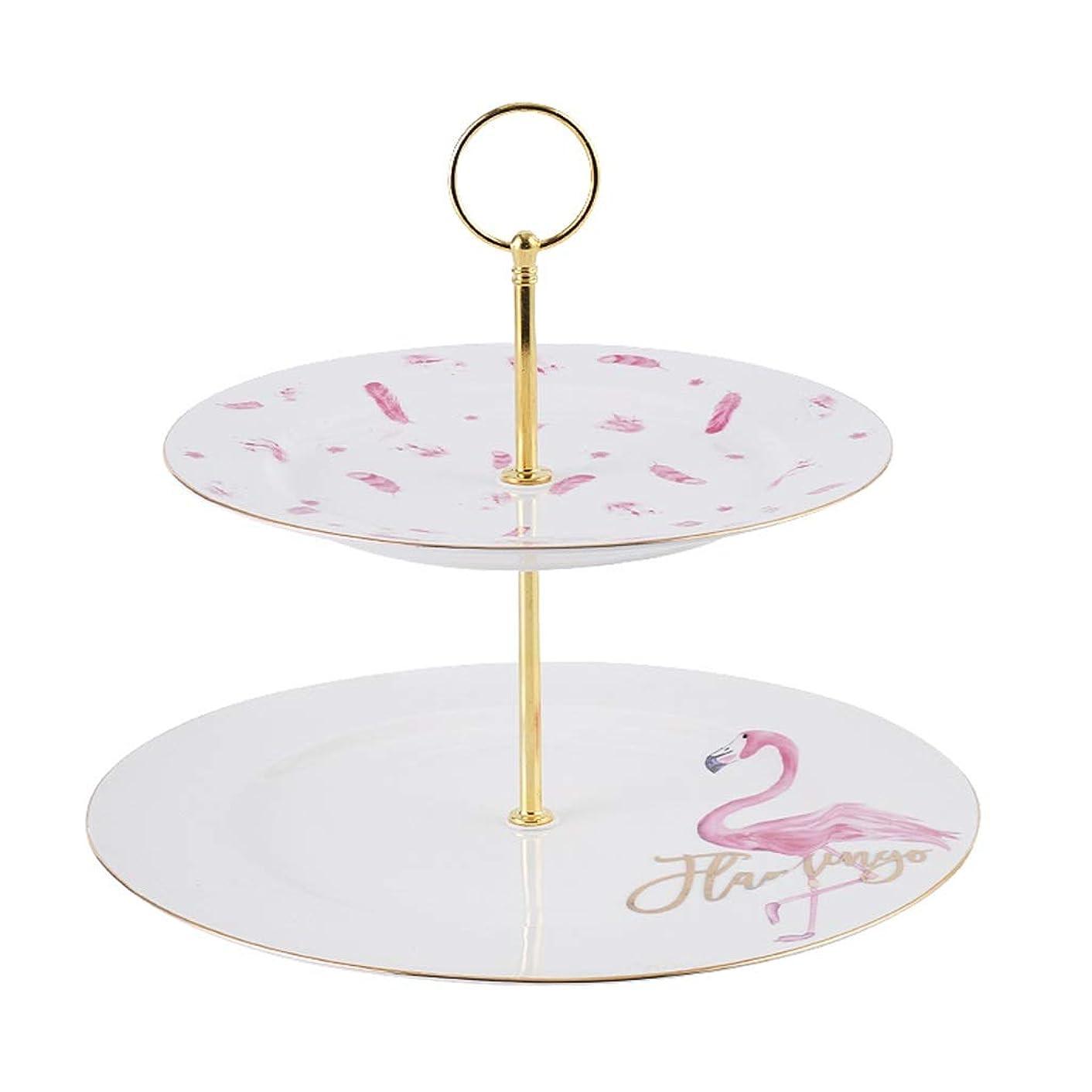 キャロライン独裁者不明瞭結婚式、党のために適した陶磁器から成っている、ピンクのプレートから成っている二重層のケーキの立場 QYSZYG