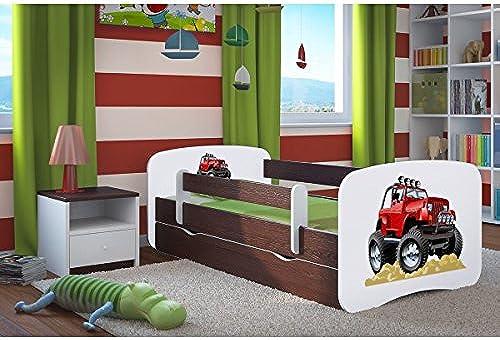 CARELLIA 'Kinderbett Roadster 80 180cm   mit Barriere Sicherheitsschuhe + Lattenrost + Schubladen + Matratze Ofürt. Wenge