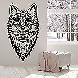 Calcomanías de pared con cabeza de lobo animales salvajes joyería de estilo étnico dormitorio decoración del hogar puertas y ventanas pegatinas pequeñas papel tapiz artístico