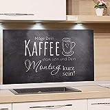 GRAZDesign Küchen Spritzschutz Herd Bar, Nischenrückwand Küche Kaffee, Glasplatte Küche Küchenspruch, Küchenrückwand Glas Grau / 80x60cm