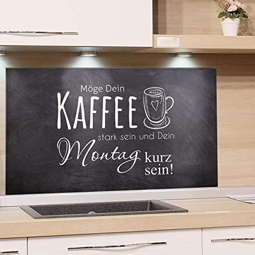 GRAZDesign Glasplatte Küche Bar, Spritzschutz Küche Glas Kaffee, Wandpaneele Küche Küchenspruch, Küchenrückwand Glas Grau / 80x40cm