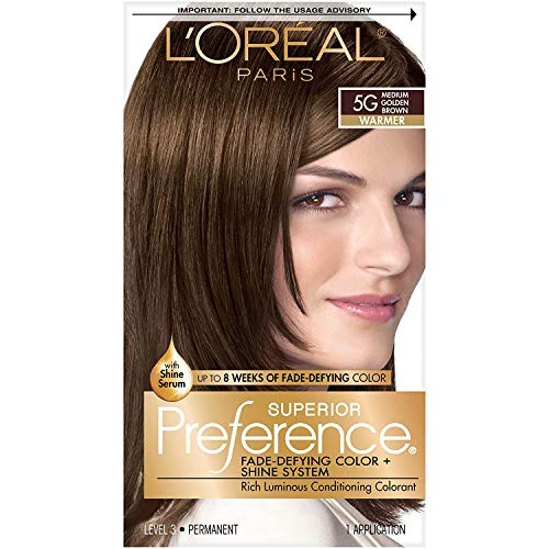 L'Oreal Paris Superior Preference Fade-Defying + Shine Permanent Hair Color, 5G Medium Golden Brown, Pack of 1, Hair Dye