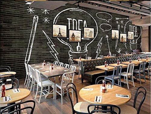 Tapete 3D-Dekoration Wandbilder Europäische Und Amerikanische Mode Black Brick Wand Glühbirne Bar Coffee Shop Hintergrund Wand-350Cmx245Cm