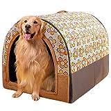 Haustierbett, Großer Hund Hundehütte Winter Warm halten Waschbar Innen Hundehütte Vier Jahreszeiten Hundehöhle Iglu,B,M47*35 * 33cm