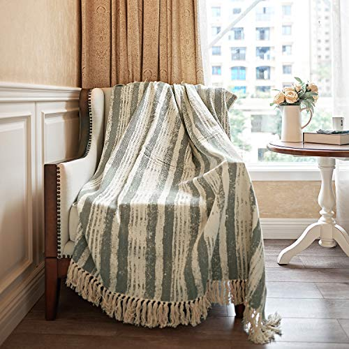 """MOTINI 100% Cotton Decorative Throw Blanket Tassel Green and Beige Striped Throw Knitted Blanket Herringbone Fringe Elegant Throw for Couch Bed Sofa, 50"""" x 60"""""""