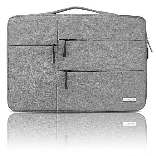 """IMAVO 14-15,6 pollici Laptop Case Sleeve Valigetta Borsa impermeabile per computer portatili, compatibile con MacBook Pro da 15 """"/ 16"""" Surface Book 2/XPS 15/Chromebook/HP/Lenovo Grigio chiaro"""