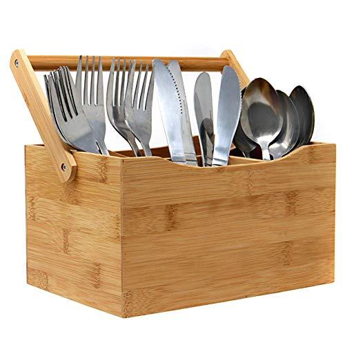 Bambusgeschirr Besteckhalter | 4 Einrichten von Fächern für Besteck und Gewürze | Einfacher, herunterklappbarer Griff | Perfekt für Zuhause oder Restaurants | M&W