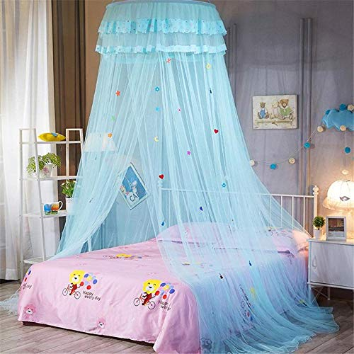 Dome plafond verlaagd bed luifel luifel prinses muggen afstotend tent koningin muggennet bed tent enkele deur vloer gordijn Blauw