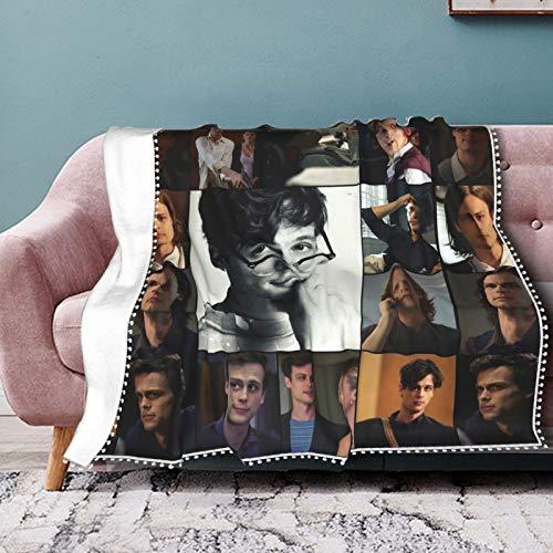 EAROBA Pompom Fringe Blanket Fashion Matth-Ew Gray Gu-Bler Warm Plush Cozy Soft Blankets for Chair/Bed/Couch/Sofa Throw for Adults Children 50'X40'