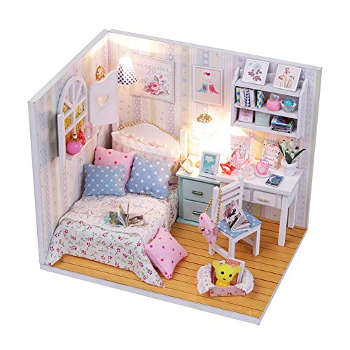 Prosperveil DIY Dollhouse Miniature Kit 3D Wooden Children Room Dolls House Furniture with LED Light Handmade Doll House Craft Kids Birthday Gift