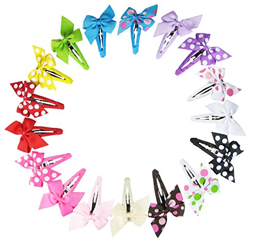 Hipgirl 2 Inch Snap Hair Clips-Boutique No Slip Grip Metal Barrettes for Girls Teens Toddlers Babies Children Kids Women Adults Beauty Accessories Assorted Color (17ct Pinwheel Bow Snap Clips)