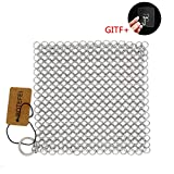 Cast Iron Cleaner 6' x 6.3' Premium 316L Stainless Steel Chainmail Scrubber for Skillet, Wok, Pot,...