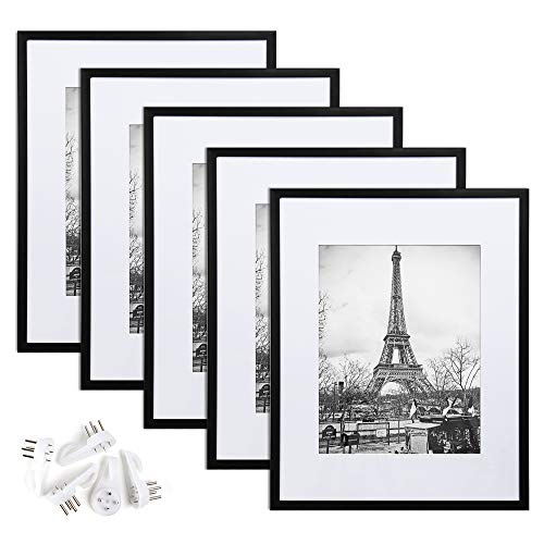 upsimples 16x20 Picture Frame Set of 5,Display Pictures 11x14 with Mat or 16x20 Without Mat,Wall Gallery Poster Frames,Black
